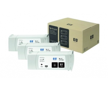 HP 81 Black DJ Ink Cart, 680 ml, 3-pack, C5066A