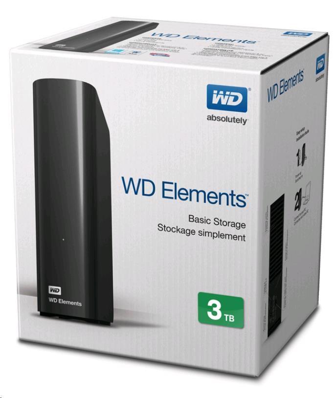 "BAZAR - WD Elements Desktop 3TB Ext. 3.5"" USB3.0, Black"