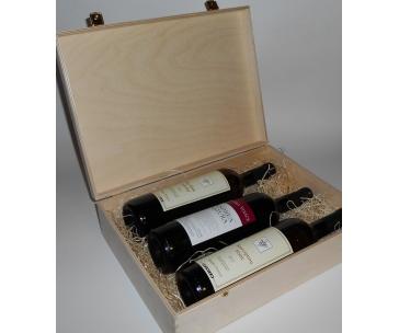 3 lahve vína z vinařství DOBRÁ VINICE v dřevěné kazetě – Ryzlink rýnský 2013, Sauvignon 2012, Andrea natura 2013