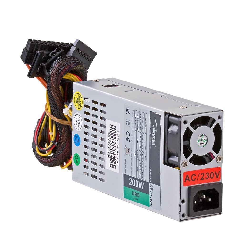 Akyga Power Supply 1U mini ITX / Flex ATX 200W AK-I1-200 P4 PFC FAN 3xSATA
