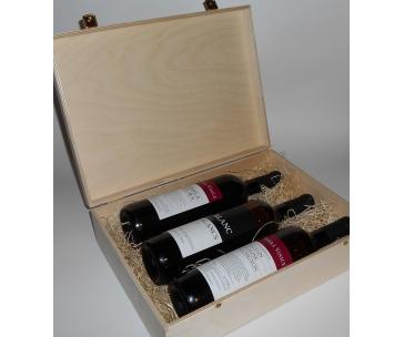 3 lahve vína z vinařství DOBRÁ VINICE v dřevěné kazetě – Andrea natura 2013, Kambrium 2014, Blanc de Blancs 2015
