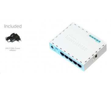 MikroTik RouterBOARD hEX, 880MHz dual-core CPU, 256MB RAM, 5x LAN, USB, microSD slot, vč. L4 licence
