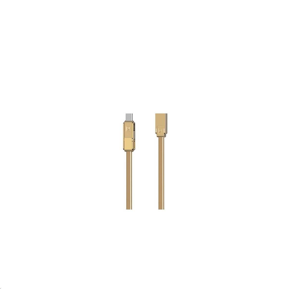 Remax RC-070th , univerzální datový kabel 3v1, USB-C/  Micro USB / lighting , 1m, 2,1A, GOLD