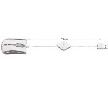 Esperanza EM109W CELANEO optická mini myš, 800 DPI, USB, navíjecí kabel, bílá