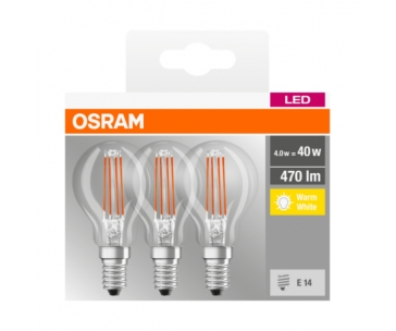 OSRAM LED Filament LED ClasP  230V 4,5W 827 E14 noDIM A++ Sklo čiré 470lm 2700K 10000h (krabička 3ks)