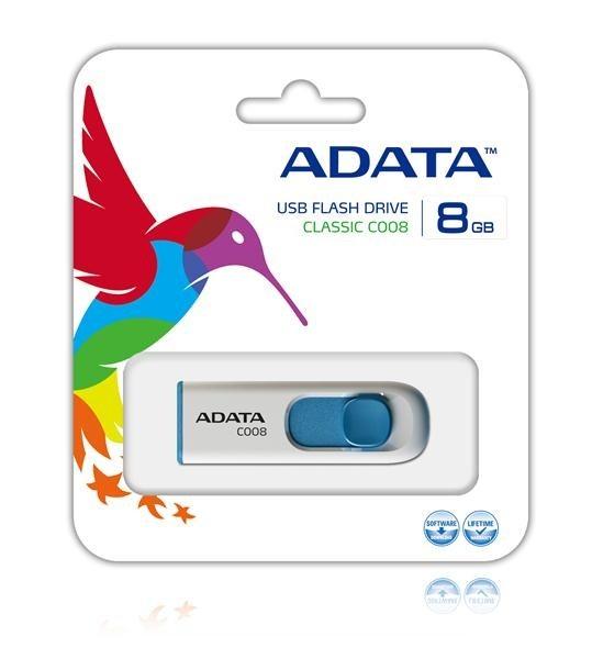 ADATA Flash Disk 8GB USB 2.0 Classic C008, bílý