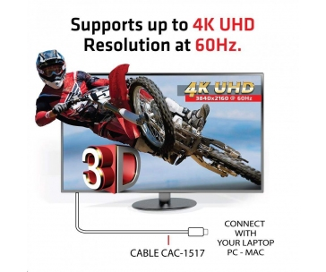 Club3D Adaptér pasivní USB 3.1 typ C na DisplayPort 1.2 4K60Hz UHD 1,2m (M/M)