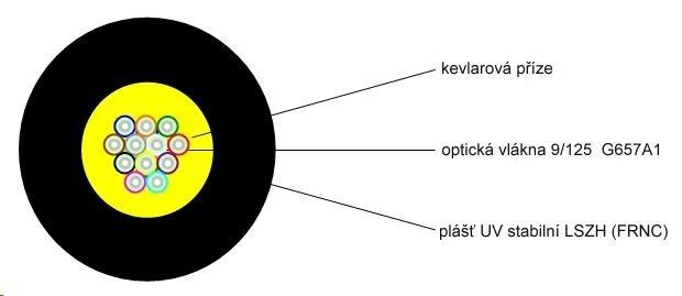 Optický kabel LEXI-Net DROP FTTx, 12x 9/125 SM, G.657A1, LS0H, černý, cívka 1km