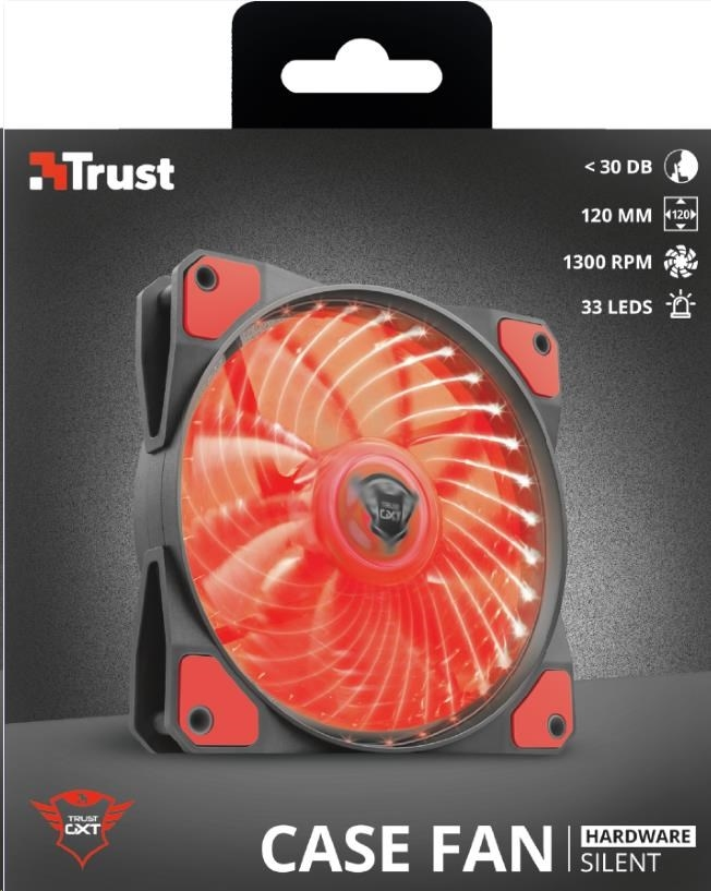 TRUST GXT 762R LED Illuminated silent PC case fan - black/red