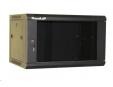 """XtendLan 19"""" jednodílný nástěnný rozvaděč 6U, šířka 600mm, hloubka 450mm, skleněné dveře-kouřové sklo,nosnost 60kg,černý"""