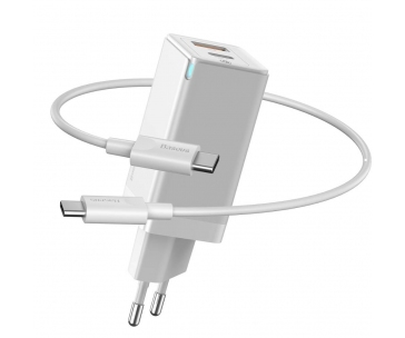Baseus GaN rychlo nabíjecí EU adaptér 2* USB-C 45W + kabel USB-C do USB-C 60W 1m, bílá