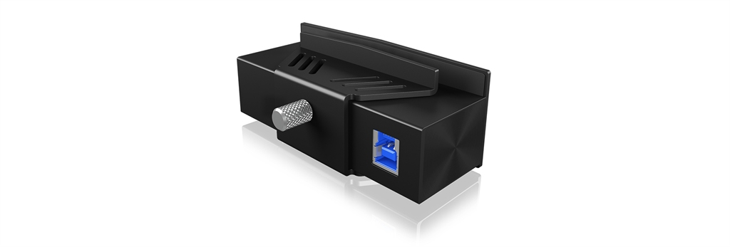 IcyBox Clamp Hub 4x USB 3.0, attached to flat monitor up to 32mm