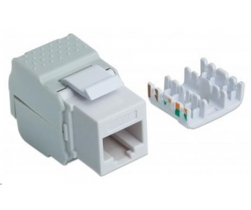 Intellinet Cat6 Keystone Jack, UTP, White, Tool-less samozařezávací