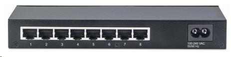Intellinet 8-Port Gigabit Smart Switch, 8x gigabit RJ45, fanless