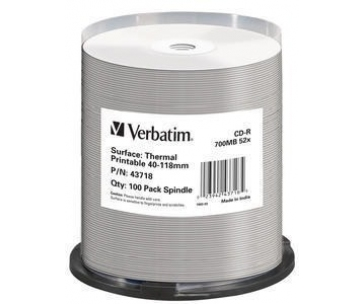 VERBATIM CD-R(100-Pack)Spindle/AZO/52x/700MB/Thermal Printable No ID Brand