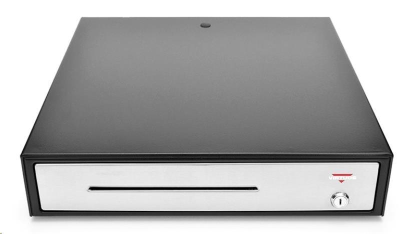 Virtuos pokladní zásuvka C430C-RJ10P10C, 12V/24V, s kabelem 24V, kovové držáky bankovek, nerez. panel, černá