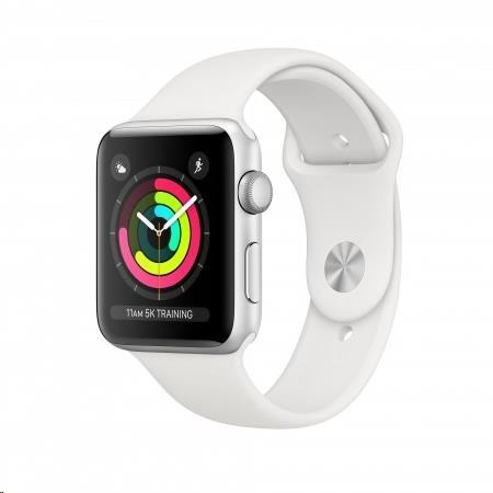 AppleWatch Series3 GPS, 42mm Silver Aluminium Case with White Sport Band