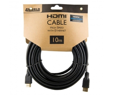 4WORLD 08608 4World Kabel HDMI - HDMI High Speed s Ethernet (v1.4), 3D, HQ, BLK, 10m
