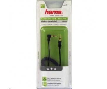 Hama audio kábel jack - jack 90 st., špirálový, 0,75 m