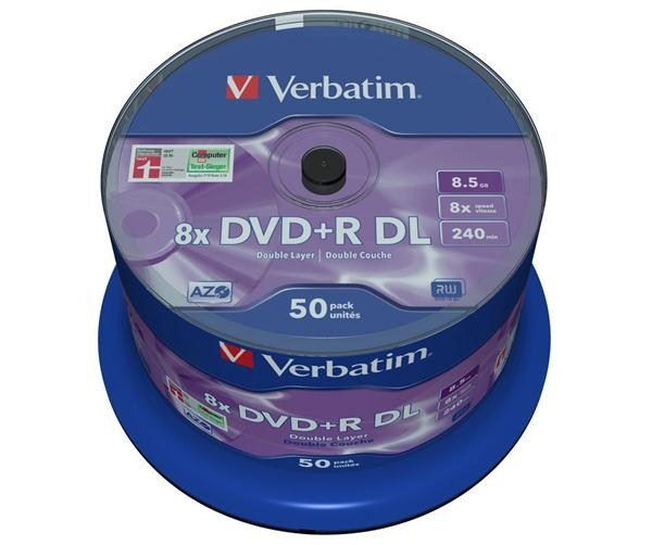 VERBATIM DVD+R(50-pack)/Double Layer/Spindle/ 8X 8.5GB Matt Silver