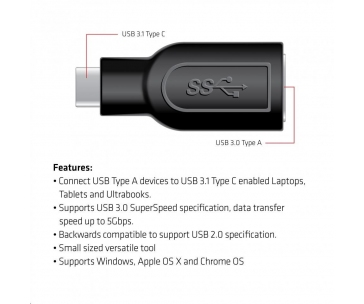 Club3D Redukce USB 3.1 typ C na USB 3.0 typ A (M/F)