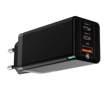Baseus GaN rychlo nabíjecí EU adaptér USB-C + USB 65W + kabel USB-C do USB-C 100W 1m, černá
