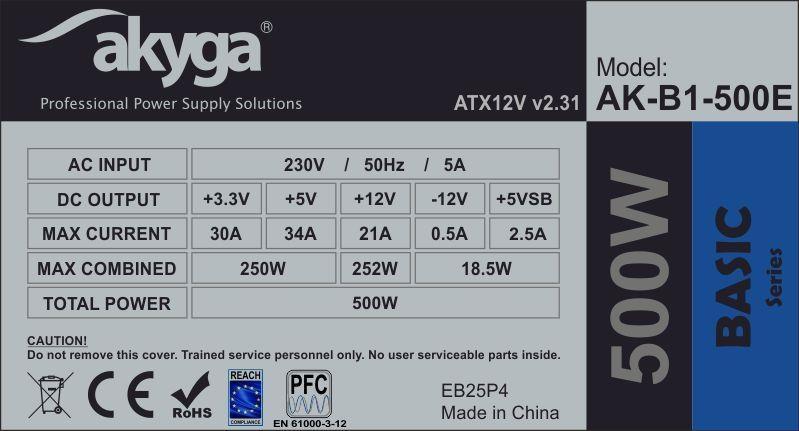Akyga Basic ATX Power Supply 550W AK-B1-550 Fan12cm P4 3xSATA PCI-E