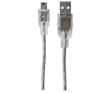 MANHATTAN Kabel USB 2.0 A-mini B propojovací 1,8m (sříbrný)