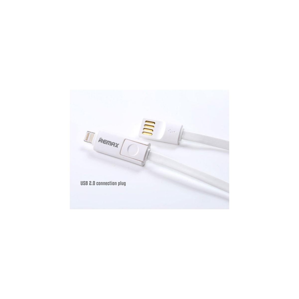 REMAX datový kabel 2 v 1 , Micro USB + lighting iPhon 5/6 1,2 m dlouhý, bílá barva Univerzal