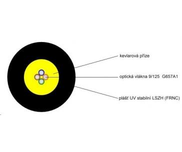 Optický kabel LEXI-Net DROP FTTx, 4x 9/125 SM, G.657A1, LS0H, černý, cívka 1km