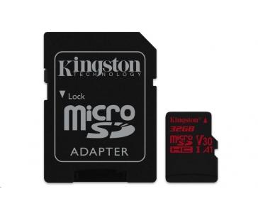 Kingston 32GB microSD HC Canvas React Card, 100R 70W UHS-I V30 A1 + SD adaptér