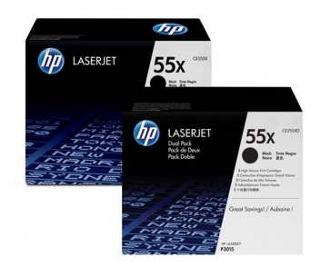 HP 55X Black 2-pack LJ Toner Cart, 2 x 12 500 str, CE255XD
