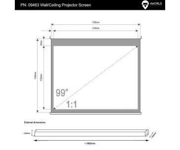 4WORLD 09463 4World Elektrické promítací plátno, dálkový ovladač, 178x178 (1:1) bílá matná