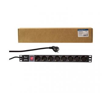 LOGILINK- Napájecí lišta 19'': bezpečnostní; zásuvky:8; 230VAC; 16A; 2m