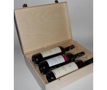 3 lahve vína z vinařství DOBRÁ VINICE v dřevěné kazetě – Ryzlink rýnský 2013, Sauvignon 2012, Kambrium cuvée 2014