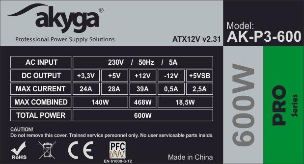 Akyga Pro ATX Power Supply 600W AK-P3-600 Fan12cm P8 5xSATA 2xPCI-E
