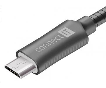 CONNECT IT Wirez Steel Knight Micro USB - USB, metallic anthracite, 1 m