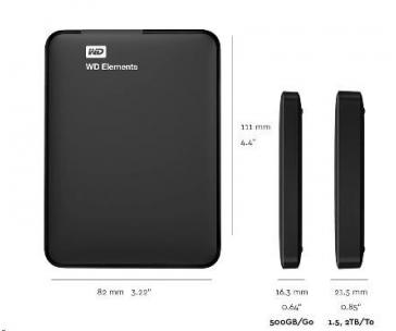 """BAZAR - WD Elements Portable 1,5TB Ext. 2.5"""" USB3.0, Black"""