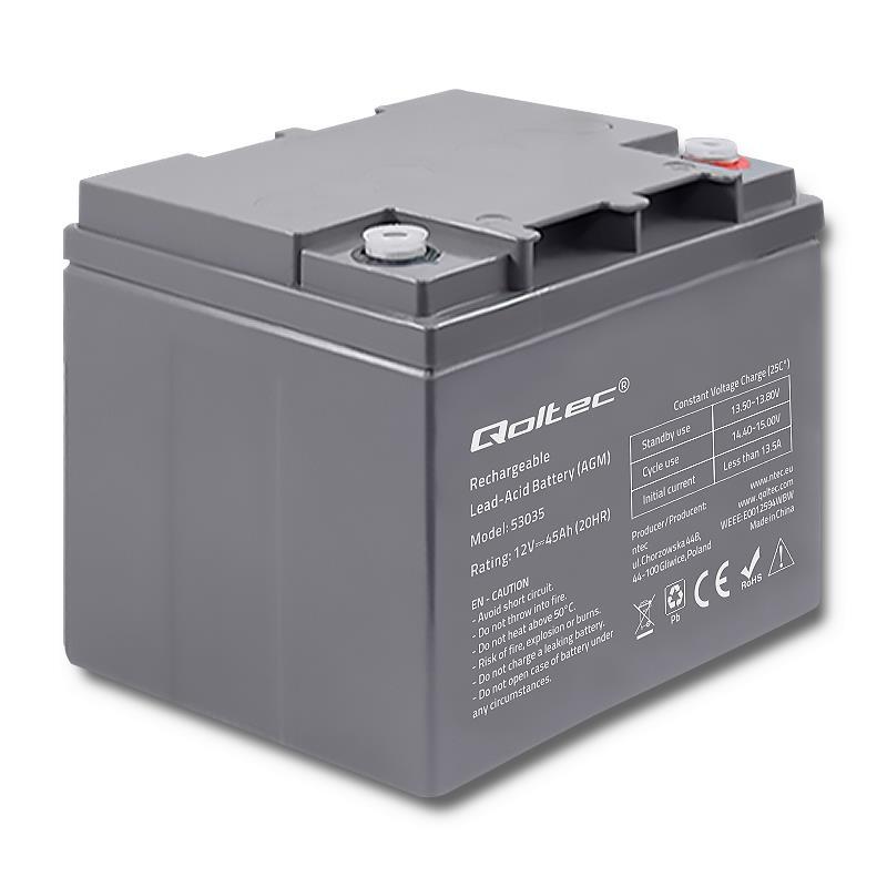 Qoltec baterie AGM | 12V | 45Ah | max.13.5A