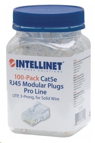 Intellinet konektor RJ45, Cat5e, UTP, 50µ, drát i lanko, 100 ks v nádobě