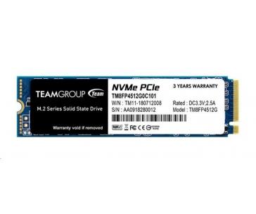 Team SSD M.2 512GB (R:3000, W:1700), MP34 PCI-e Gen3.0 x4 NVMe 1.3