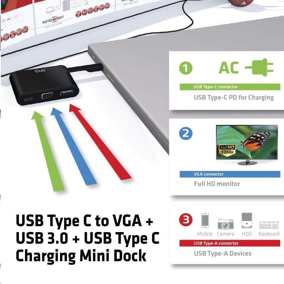 Club3D mini dokovací stanice USB 3.0 typ C (VGA/USB 3.0/USB-C)