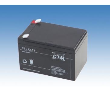 Baterie - CTM CTL 12-12L (12V/12Ah - Faston 250), životnost 10-12let