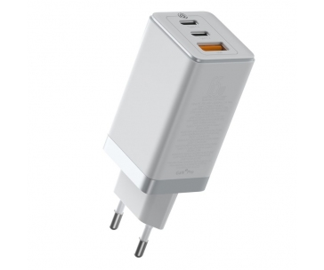 Baseus GaN rychlo nabíjecí EU adaptér USB-C + USB 65W + kabel USB-C do USB-C 100W 1m, bílá