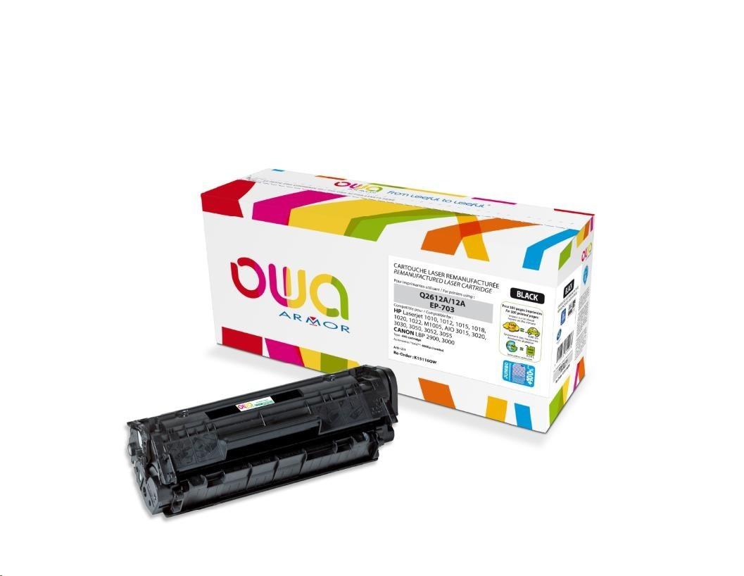OWA Armor toner pro HP Laserjet 1010, 1012, 1015, 1020, 1022, 4000 Stran, Q2612A JUMBO, černá/black