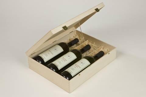 Dřevěná kazeta na 3 lahve