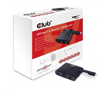 Club3D Mini dokovací stanice USB 3.0 typ C (Ethernet/USB 3.0/USB-C), nabíjecí