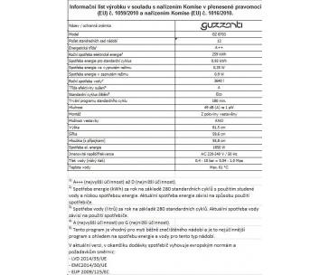 GUZZANTI GZ 8703 VESTAVNÁ MYČKA NÁDOBÍ PLNĚ INTEGROVANÁ 60 CM