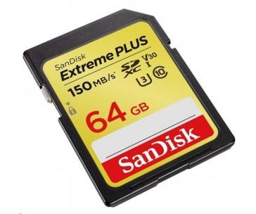 SanDisk 64GB SDXC Card Extreme Plus (R:150/W:70 MB/s, Class 10, UHS-I U3 V30)