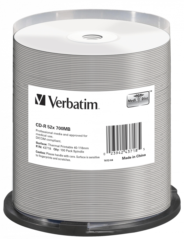 Verbatim CD-R [ spindle 100 | 700MB | 52x | THERMAL SURFACE FOR RIMAGE PRISM ]